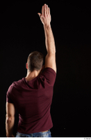 Tomas Salek  1 arm back view dressed flexing red t shirt 0005.jpg